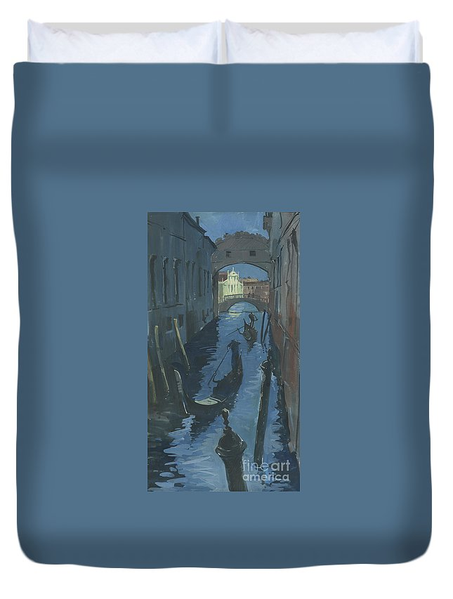 Painting Duvet Cover featuring the painting View Of The Bridge Of Sighs At Night. by Sakurov Igor