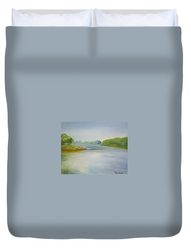 Delaware River Duvet Cover featuring the painting View of the Delaware by Sheila Mashaw