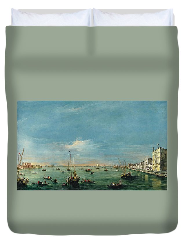 Francesco Guardi Duvet Cover featuring the painting View Of The Giudecca Canal And The Zatter by Francesco Guardi