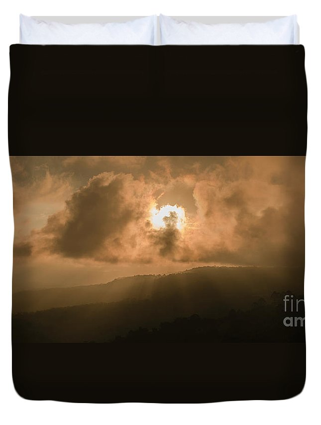 Destination Duvet Cover featuring the photograph View Of The Maleny Mountains Hinterlands. by Rob D