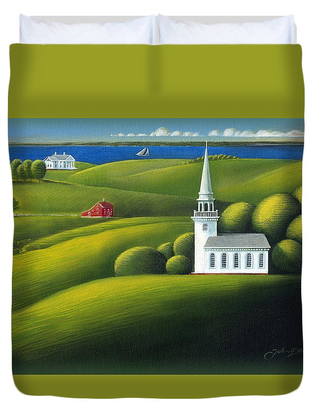 Deecken Duvet Cover featuring the painting View Of The Sound by John Deecken