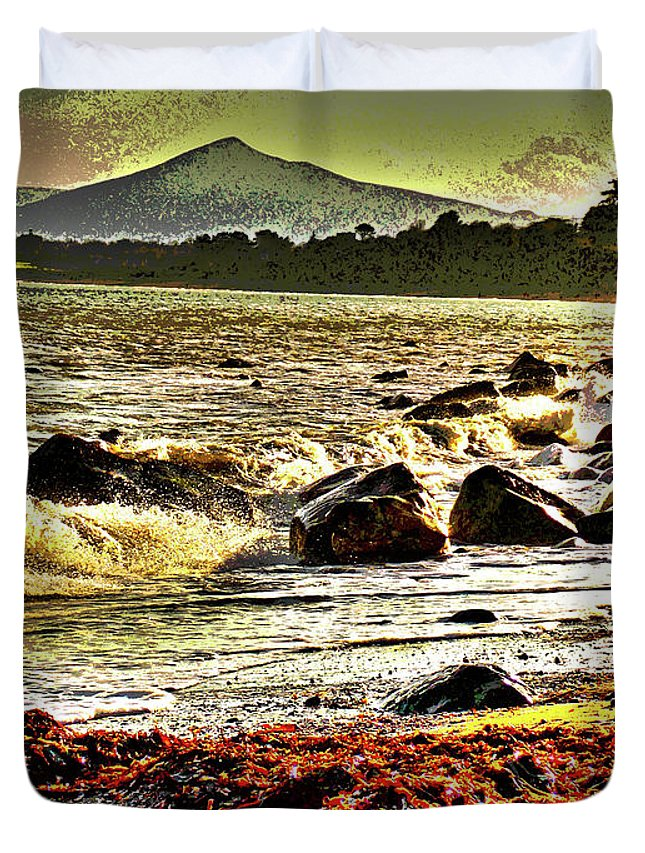Beach Duvet Cover featuring the digital art View Of The Sugarloaf Mountain From Killiney, 1b by Zsuzsanna Szabo