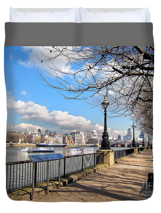 Thames Duvet Cover featuring the photograph View Of The Thames by Madeline Ellis