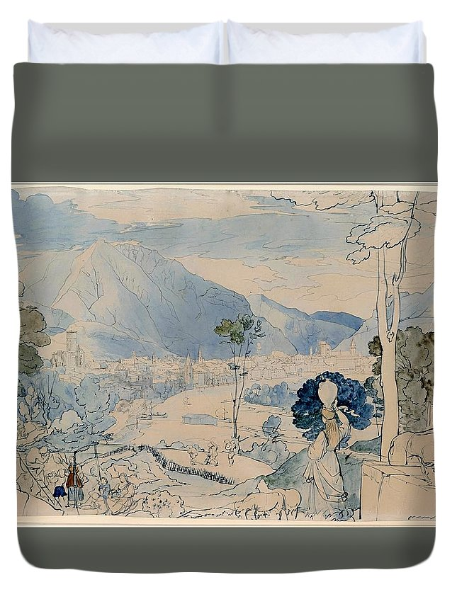 Painting Duvet Cover featuring the painting View Of Trent by Mountain Dreams