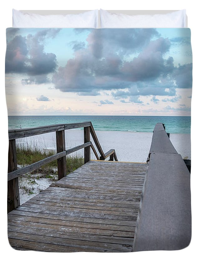 Bridge Duvet Cover featuring the photograph View Of White Sand And Blue Ocean From Wooden Boardwalk by PorqueNo Studios