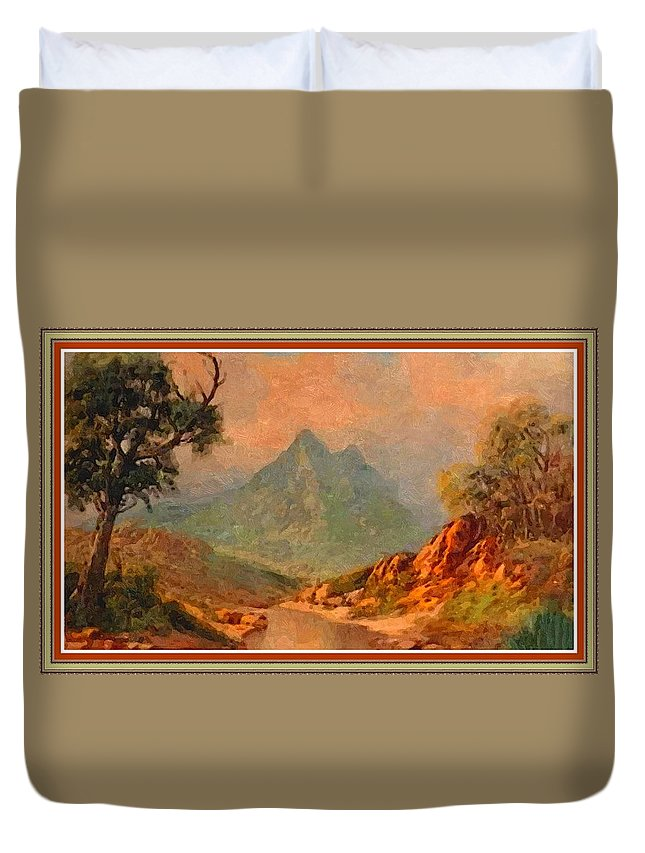 Mountains Duvet Cover featuring the painting View On Blue Tip Mountain H B With Decorative Ornate Printed Frame. by Gert J Rheeders