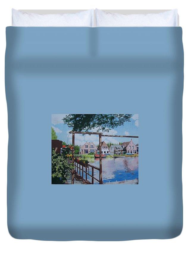 Landscape Duvet Cover featuring the mixed media View On Hillegersberg by Constance Drescher