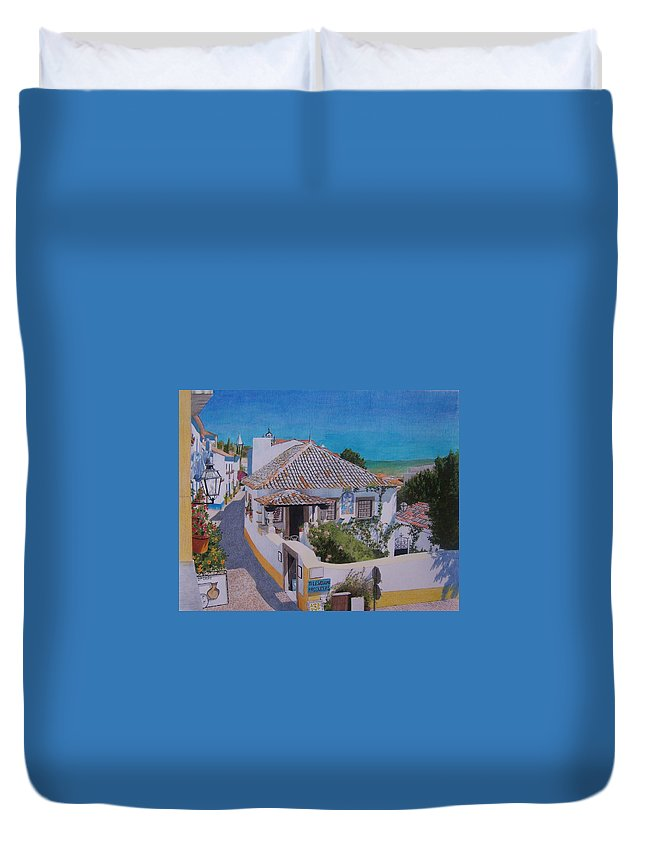 Green Duvet Cover featuring the mixed media View On Obidos by Constance Drescher