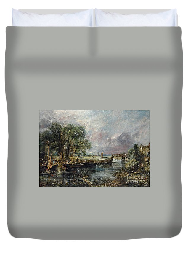 Constable Duvet Cover featuring the painting View On The Stour Near Dedham by John Constable