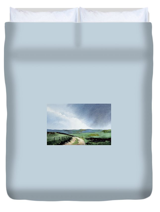 Landscape Duvet Cover featuring the painting View Over Pole Moor by Paul Dene Marlor