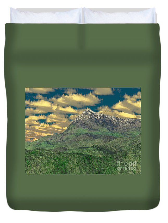 Digital Art Duvet Cover featuring the digital art View To The Mountain by Gaspar Avila