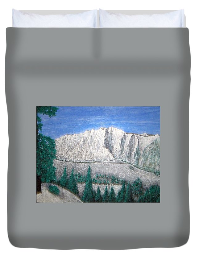 Snow Duvet Cover featuring the painting Viewfrom Spruces by Michael Cuozzo