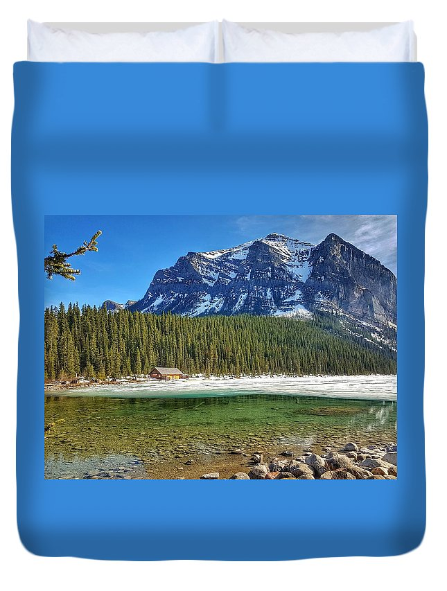 Views Duvet Cover featuring the photograph Views From Lake Louise Alberta by Nadia Seme