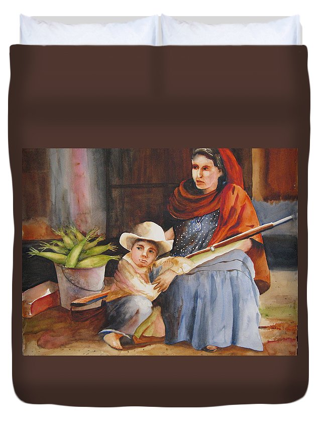 Mother Duvet Cover featuring the painting Vigil by Karen Stark
