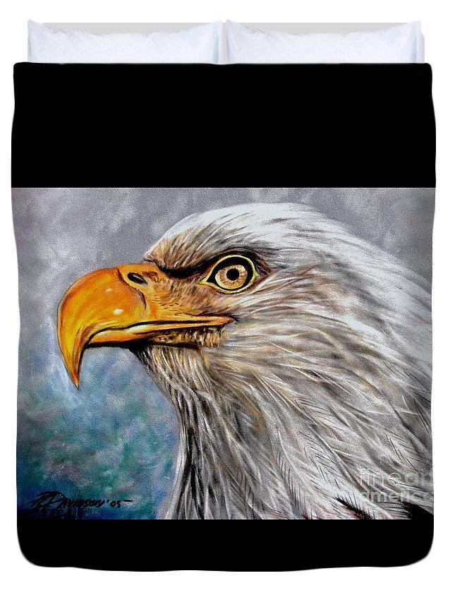 Eagle Duvet Cover featuring the painting Vigilant Eagle by Patricia L Davidson