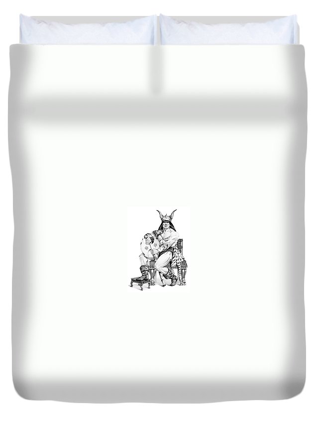 Viking Duvet Cover featuring the painting Viking Warrior by Melissa A Benson