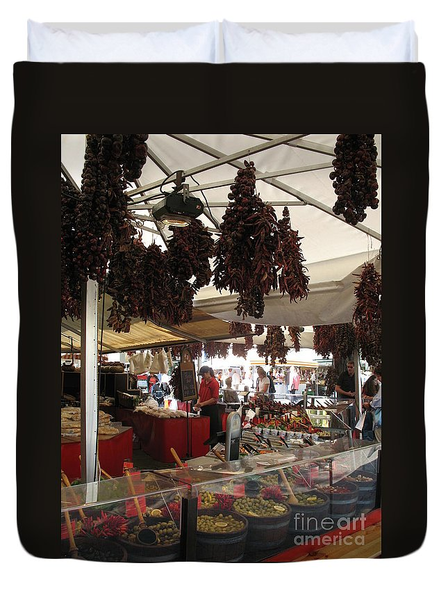 Market Duvet Cover featuring the photograph Viktualienmarkt - Munich by Christiane Schulze Art And Photography