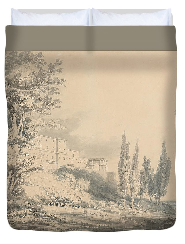 Villa D'este Duvet Cover featuring the drawing Villa D'este by Grypons Art