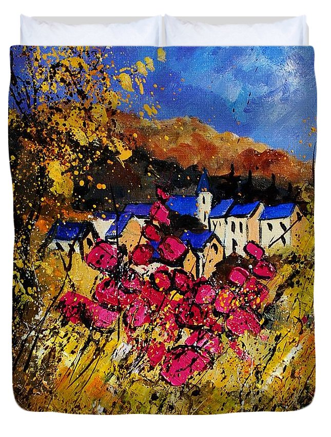 Flowers Duvet Cover featuring the painting Village 450808 by Pol Ledent