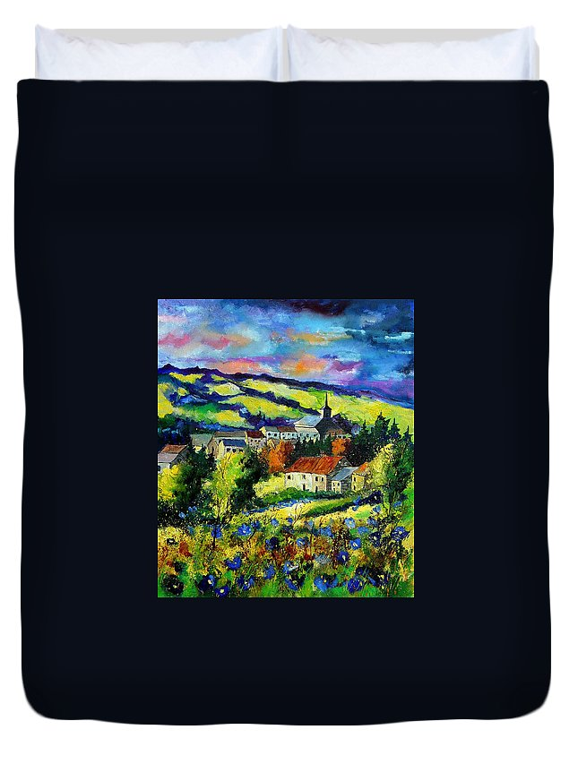 Landscape Duvet Cover featuring the painting Village And Blue Poppies by Pol Ledent