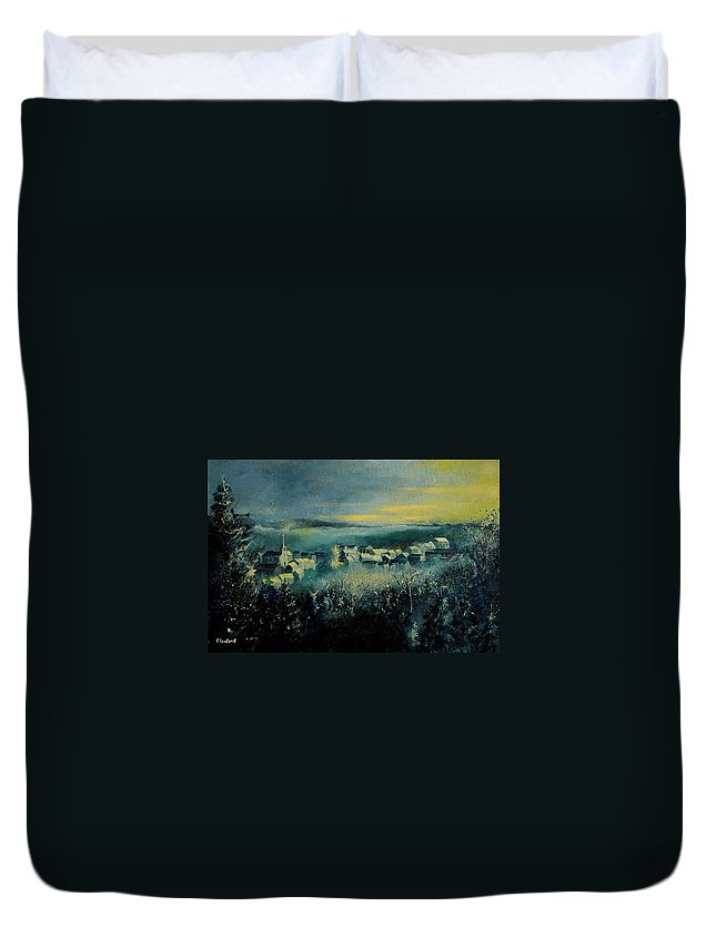 Village Duvet Cover featuring the painting Village In A Misty Morning by Pol Ledent
