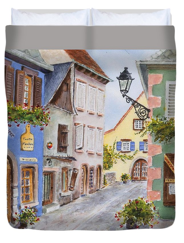 Village Duvet Cover featuring the painting Village in Alsace by Mary Ellen Mueller Legault