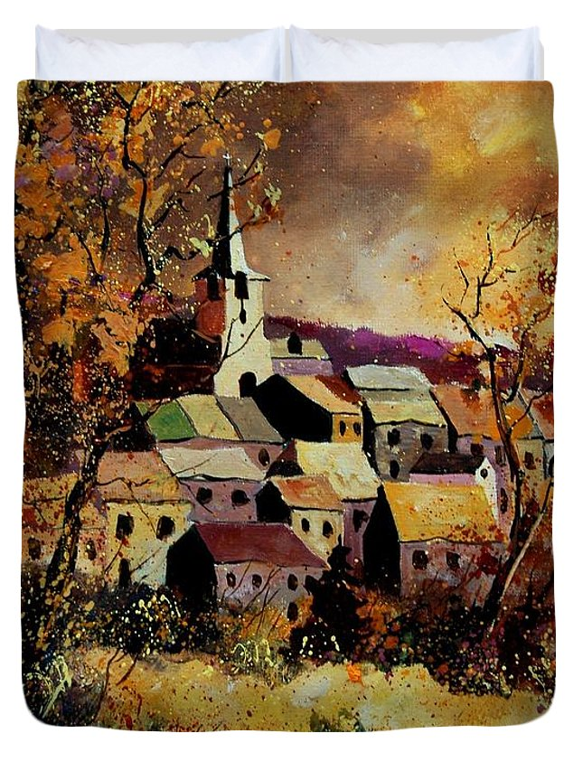 River Duvet Cover featuring the painting Village In Fall by Pol Ledent