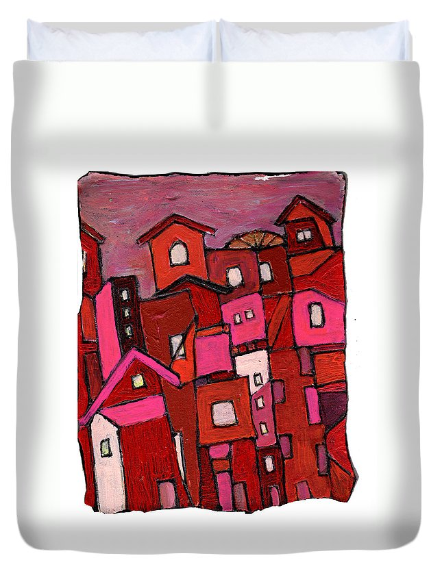 Village Duvet Cover featuring the painting Village In Pink by Wayne Potrafka