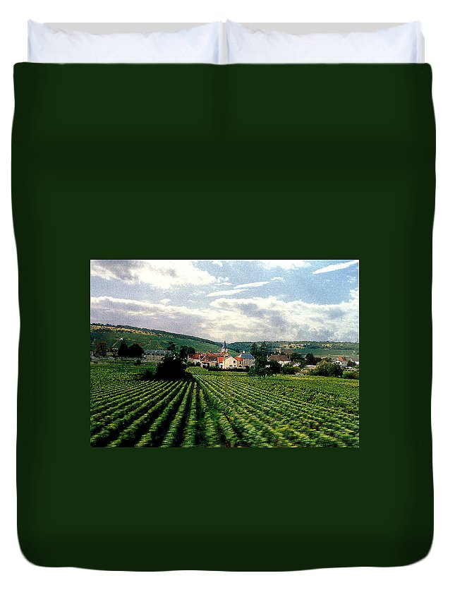 Vineyards Duvet Cover featuring the photograph Village In The Vineyards Of France by Nancy Mueller