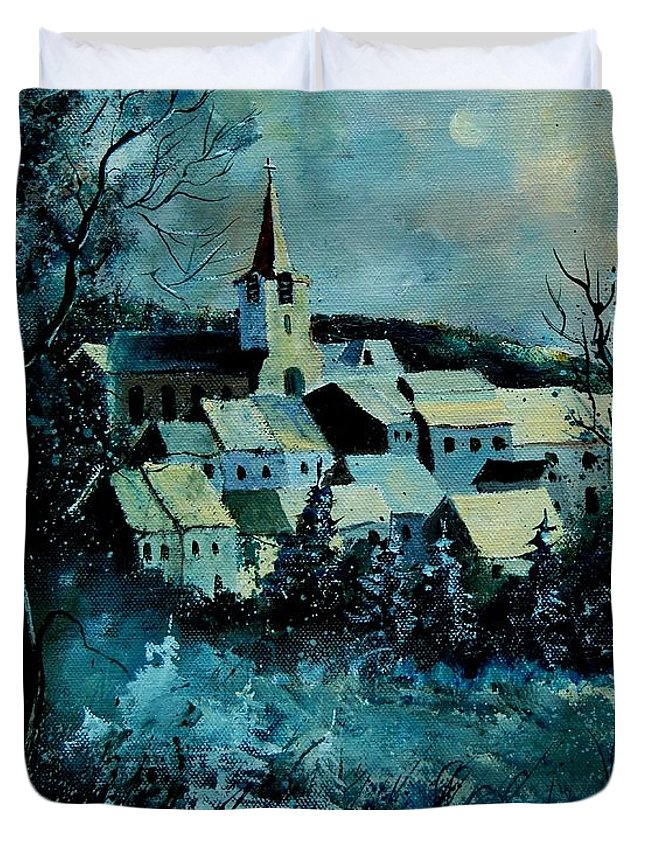 River Duvet Cover featuring the painting Village in winter by Pol Ledent