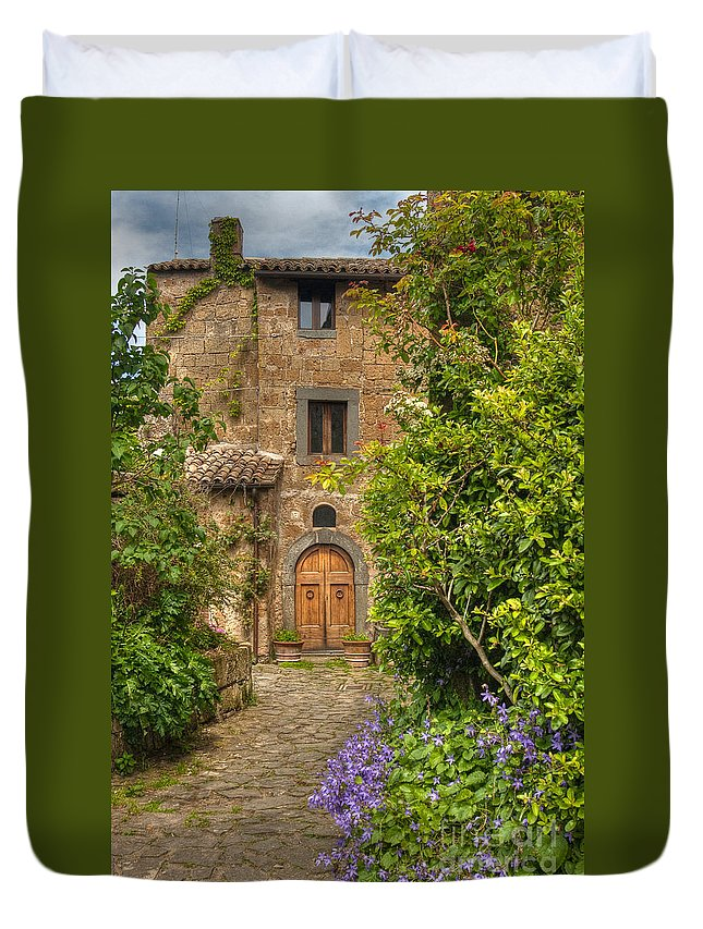 Italy Duvet Cover featuring the photograph Village Lane by Colette Panaioti