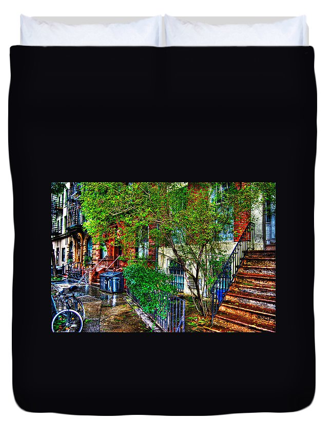 Townhouse Duvet Cover featuring the photograph Village Life by Randy Aveille