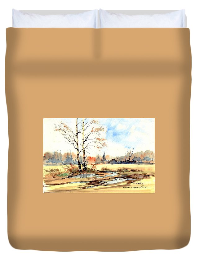 Village Duvet Cover featuring the painting Village Scene I by Suzann Sines