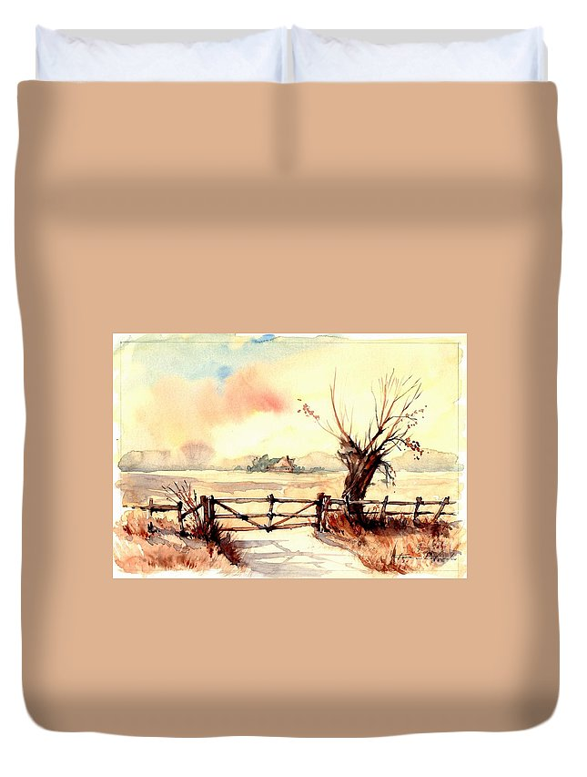 Village Duvet Cover featuring the painting Village Scene IIi by Suzann Sines