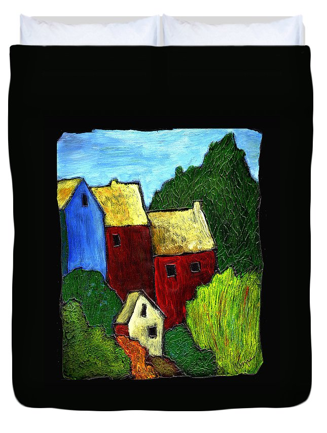 Village Duvet Cover featuring the painting Village Scene by Wayne Potrafka
