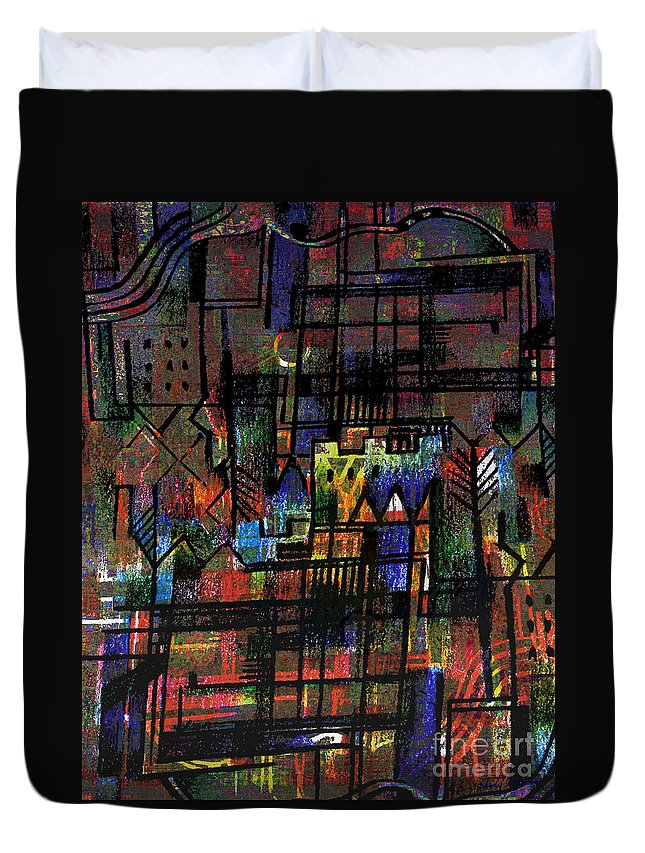 Centre Ville Duvet Cover featuring the drawing Ville Francaise by Andy Mercer