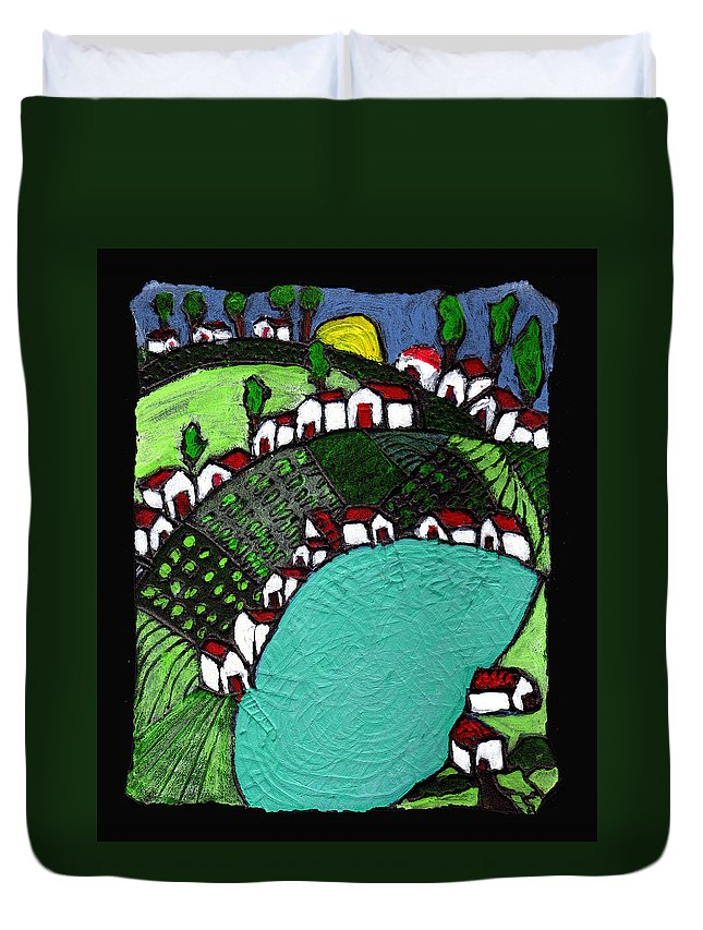 Village Duvet Cover featuring the painting Villlage By The Pond by Wayne Potrafka