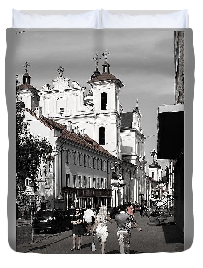 Black And White Duvet Cover featuring the photograph Vilnius People by Christian Hallweger
