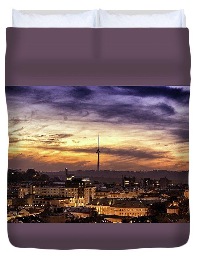 Lithuania Duvet Cover featuring the photograph Vilnius Tv Tower by Tomas Donauskas