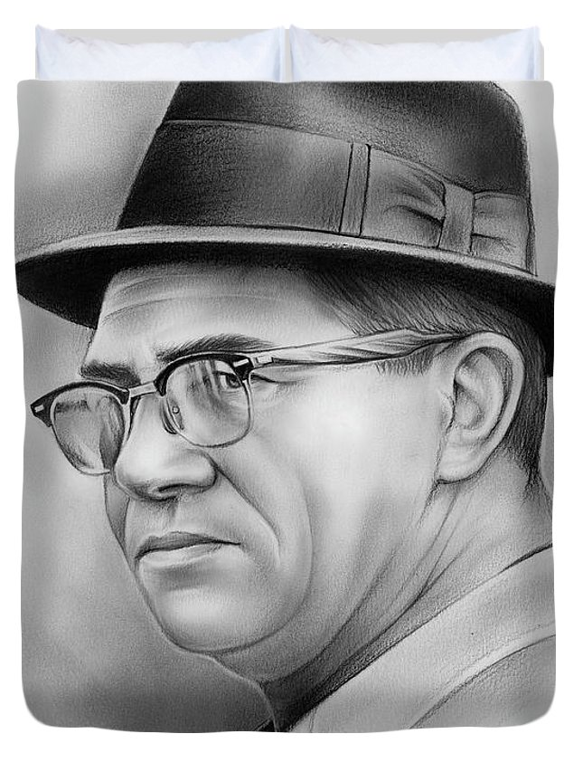 Vince Lombardi Duvet Cover featuring the drawing Vince Lombardi by Greg Joens