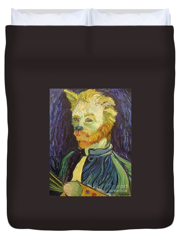 Van Gogh Duvet Cover featuring the painting Vincent Van Gogh Cat  by Gail Eisenfeld