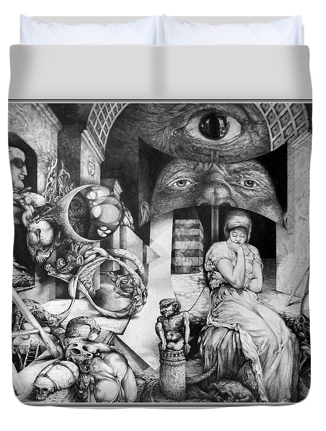 Surrealism Duvet Cover featuring the drawing Vindobona Altarpiece IIi - Snakes And Ladders by Otto Rapp