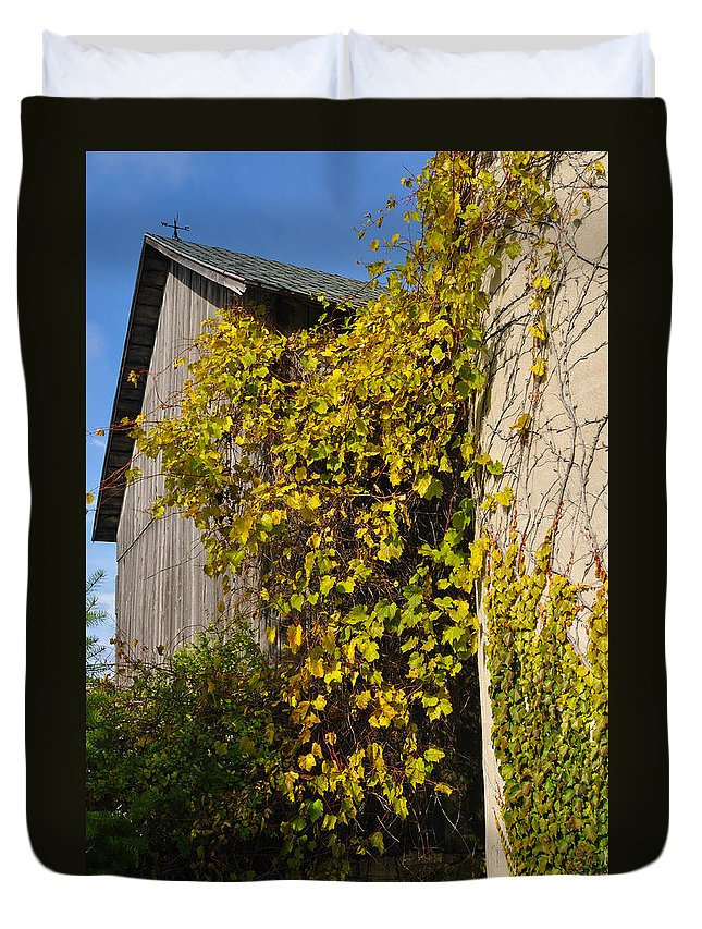 Silo Duvet Cover featuring the photograph Vined Silo by Tim Nyberg