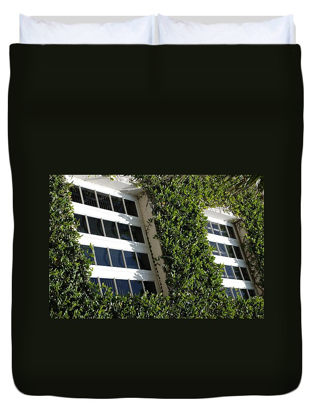 Architecture Duvet Cover featuring the photograph Vines And Glass by Rob Hans