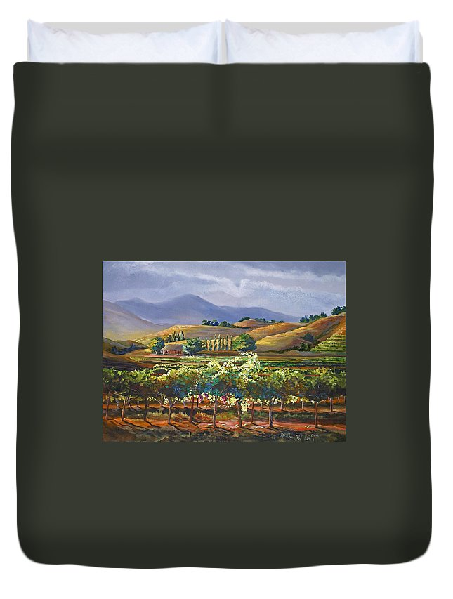 Vineyard Duvet Cover featuring the painting Vineyard In California by Heather Coen