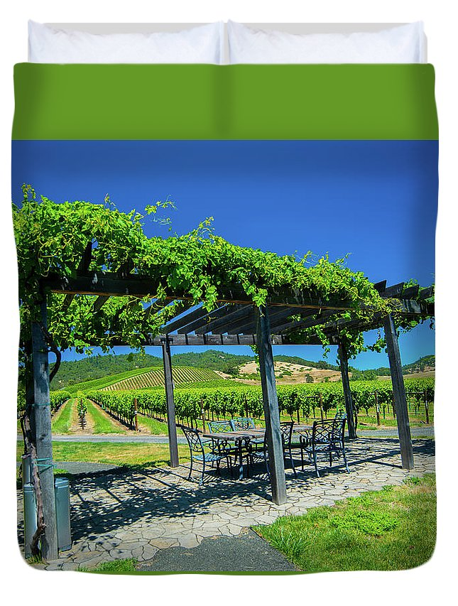 Duvet Cover featuring the photograph Vineyard by Jade Woods