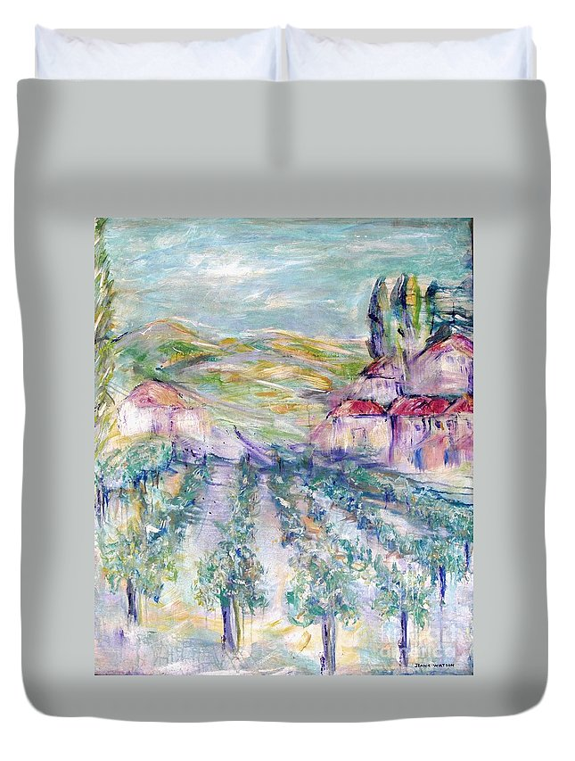 Vineyard Duvet Cover featuring the painting Vineyard by Jeanie Watson