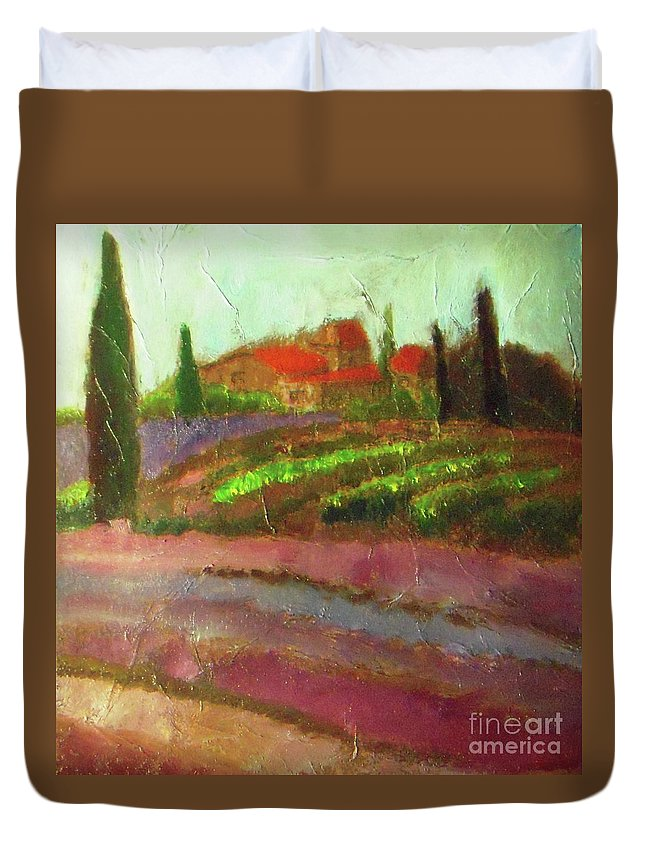 Landscape Duvet Cover featuring the painting Tuscany Vineyard by Vesna Antic