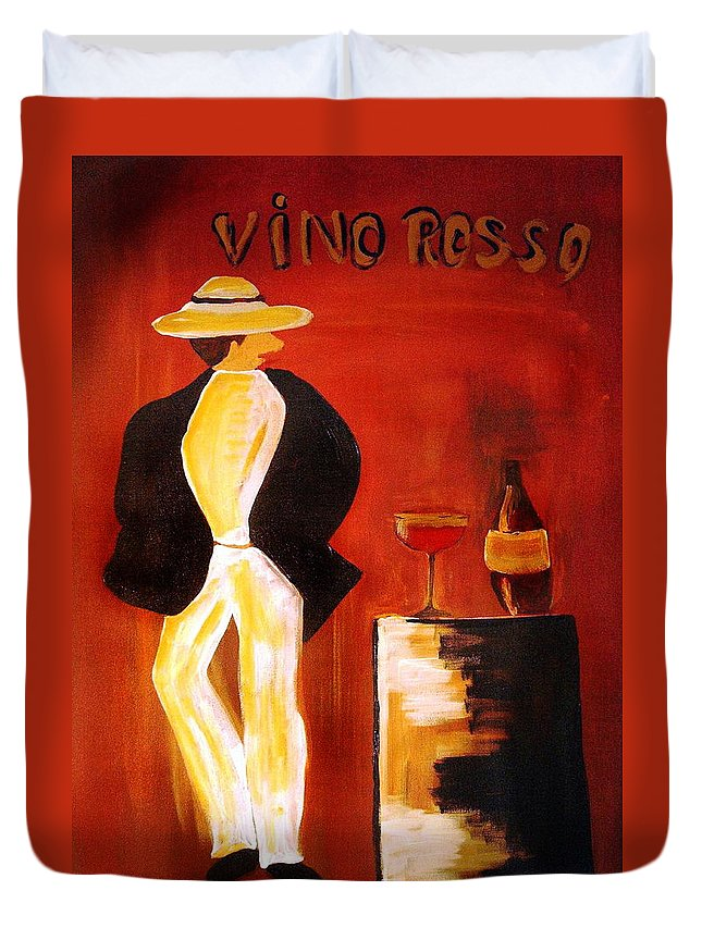 Italian Duvet Cover featuring the mixed media Vinorosso by Helmut Rottler