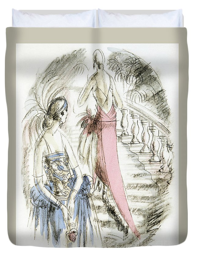 German Duvet Cover featuring the painting Vintage 1920s Fashion Plate Evening Dresses by German School